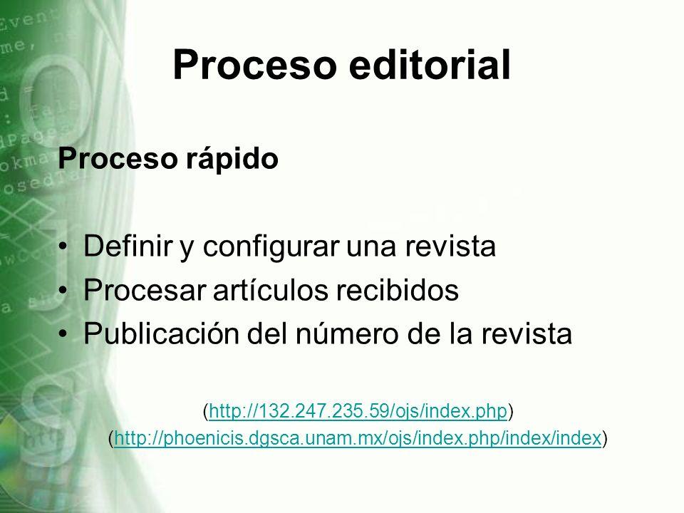 Proceso rápido Definir y configurar una revista Procesar artículos recibidos Publicación del número de la revista (http://132.247.235.59/ojs/index.php