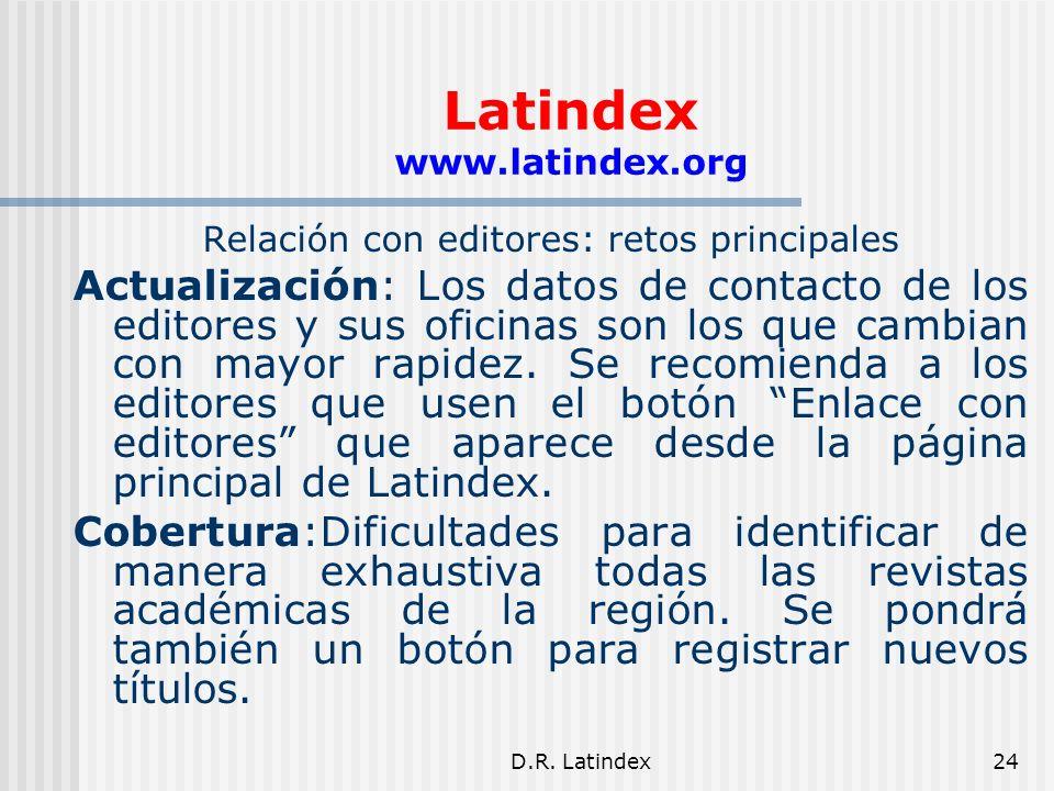 D.R. Latindex24 Latindex www.latindex.org Relación con editores: retos principales Actualización: Los datos de contacto de los editores y sus oficinas