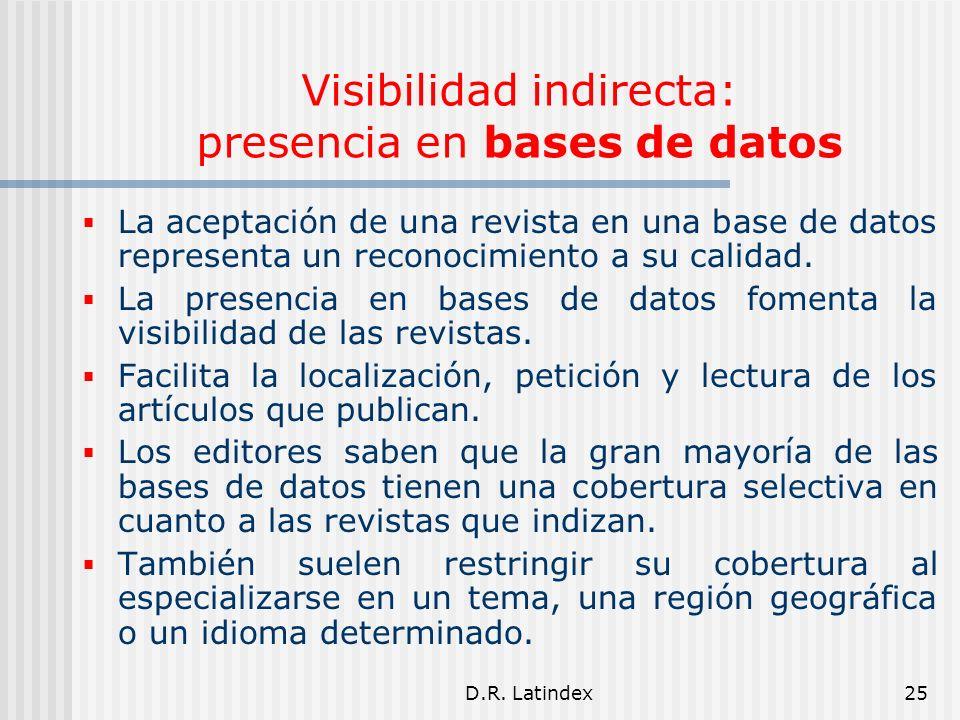 D.R. Latindex25 Visibilidad indirecta: presencia en bases de datos La aceptación de una revista en una base de datos representa un reconocimiento a su
