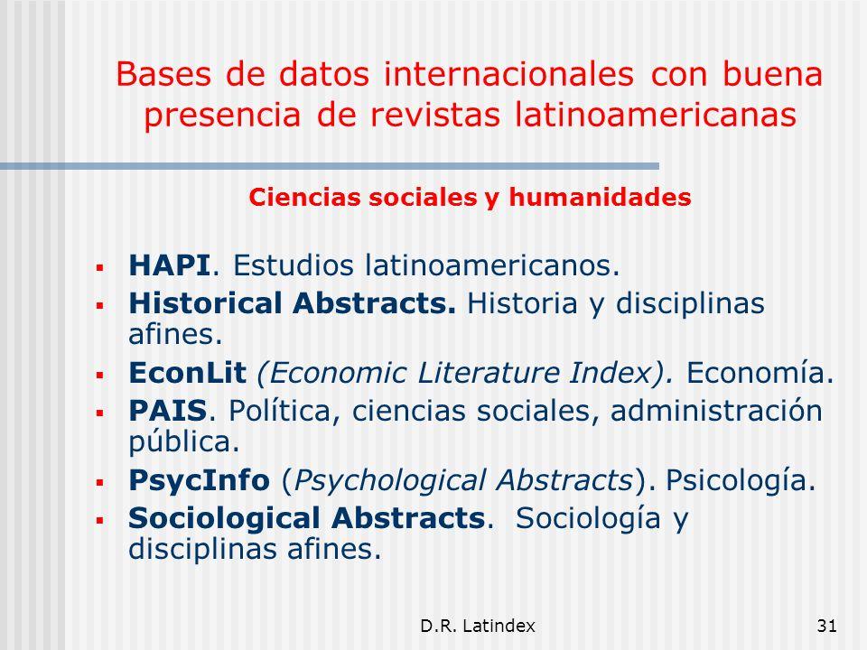 D.R. Latindex31 Ciencias sociales y humanidades HAPI.
