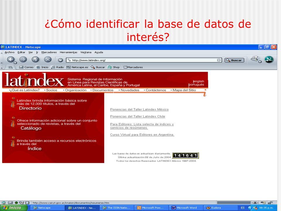 D.R. Latindex33 ¿Cómo identificar la base de datos de interés