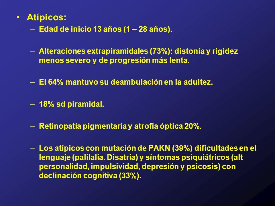 Atípicos: –Edad de inicio 13 años (1 – 28 años). –Alteraciones extrapiramidales (73%): distonía y rigidez menos severo y de progresión más lenta. –El
