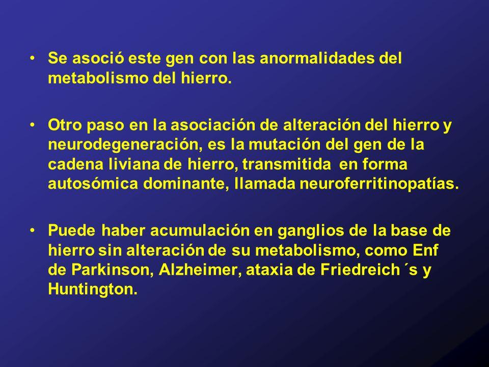 Se asoció este gen con las anormalidades del metabolismo del hierro. Otro paso en la asociación de alteración del hierro y neurodegeneración, es la mu