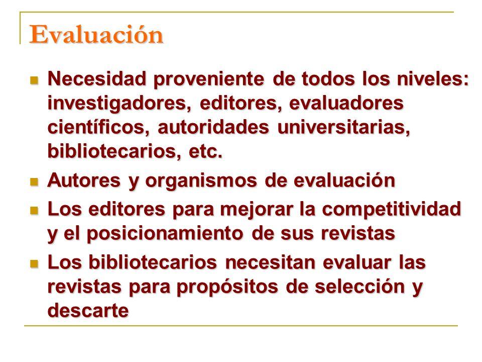 Factor de impacto Investigación orientada a necesidades locales, o donde el componente territorial es fuerte Idioma español, no inglés Los estudios clínicos publican menos, generando menos citaciones referentes a artículos de interés clínico