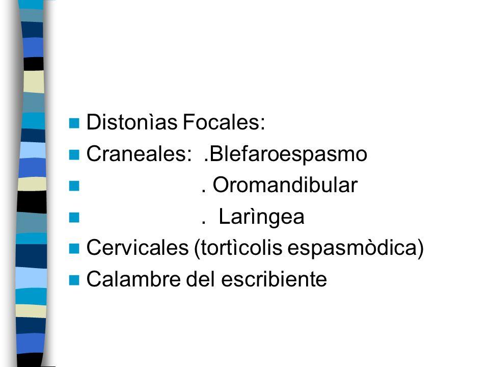 Distonìas Focales: Craneales:.Blefaroespasmo.Oromandibular.