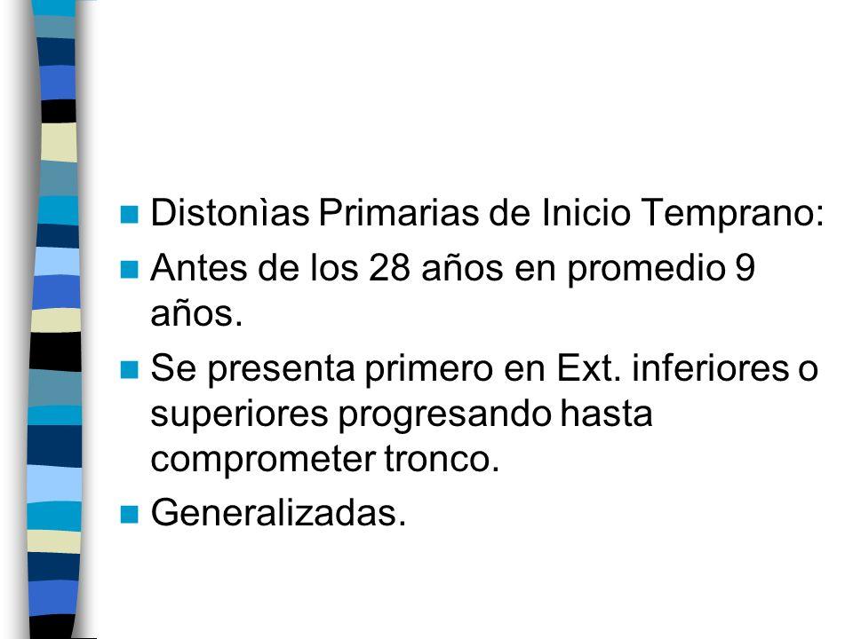 Distonìas Primarias de Inicio Temprano: Antes de los 28 años en promedio 9 años.