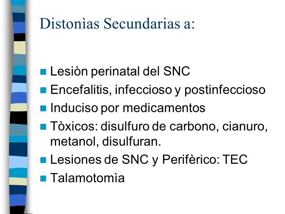 Distonìas Secundarias a: Lesiòn perinatal del SNC Encefalitis, infeccioso y postinfeccioso Induciso por medicamentos Tòxicos: disulfuro de carbono, cianuro, metanol, disulfuran.