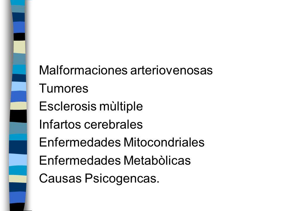 Malformaciones arteriovenosas Tumores Esclerosis mùltiple Infartos cerebrales Enfermedades Mitocondriales Enfermedades Metabòlicas Causas Psicogencas.