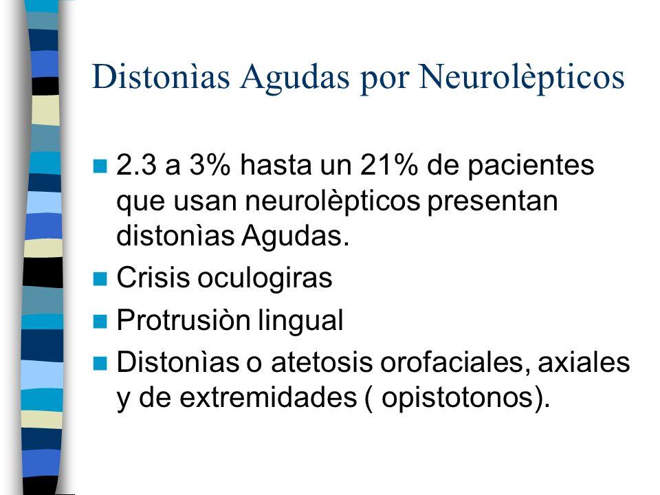 Distonìas Agudas por Neurolèpticos 2.3 a 3% hasta un 21% de pacientes que usan neurolèpticos presentan distonìas Agudas.