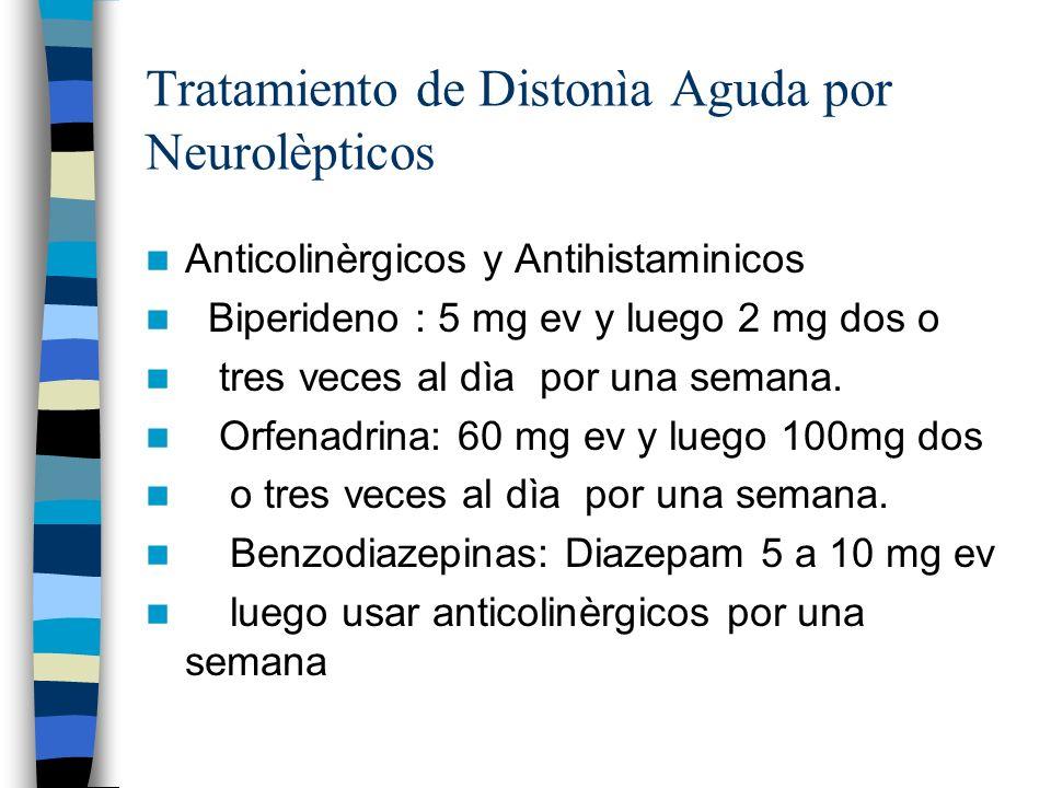 Tratamiento de Distonìa Aguda por Neurolèpticos Anticolinèrgicos y Antihistaminicos Biperideno : 5 mg ev y luego 2 mg dos o tres veces al dìa por una semana.