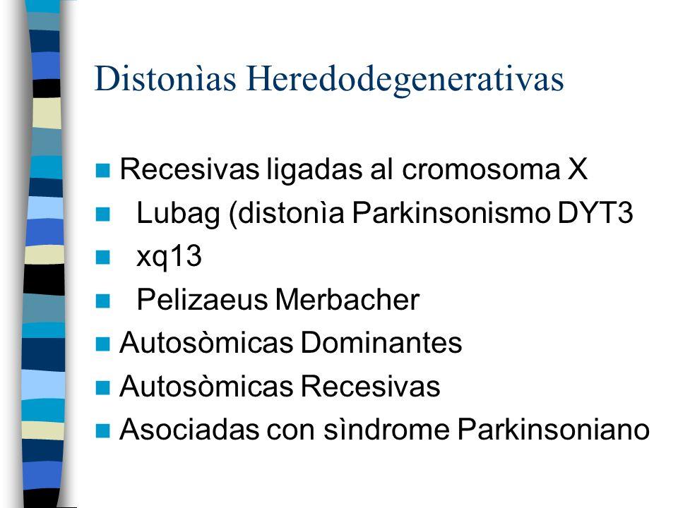 Distonìas Heredodegenerativas Recesivas ligadas al cromosoma X Lubag (distonìa Parkinsonismo DYT3 xq13 Pelizaeus Merbacher Autosòmicas Dominantes Autosòmicas Recesivas Asociadas con sìndrome Parkinsoniano