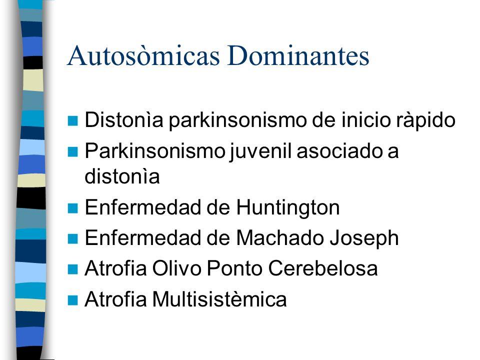 Autosòmicas Dominantes Distonìa parkinsonismo de inicio ràpido Parkinsonismo juvenil asociado a distonìa Enfermedad de Huntington Enfermedad de Machado Joseph Atrofia Olivo Ponto Cerebelosa Atrofia Multisistèmica