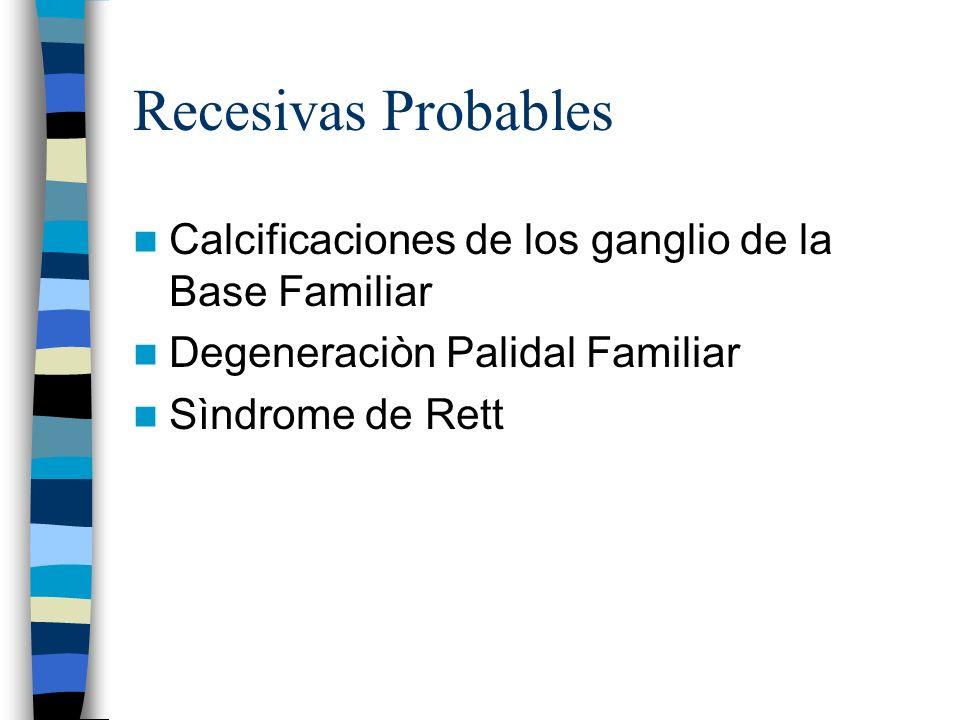 Recesivas Probables Calcificaciones de los ganglio de la Base Familiar Degeneraciòn Palidal Familiar Sìndrome de Rett