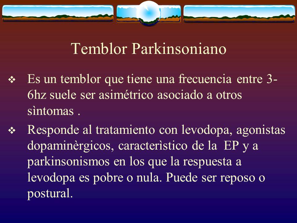 Temblor Parkinsoniano Es un temblor que tiene una frecuencia entre 3- 6hz suele ser asimétrico asociado a otros sìntomas. Responde al tratamiento con