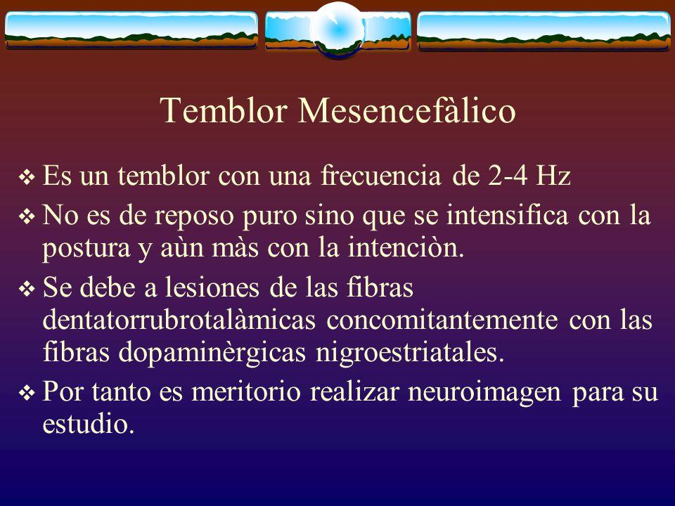 Temblor Mesencefàlico Es un temblor con una frecuencia de 2-4 Hz No es de reposo puro sino que se intensifica con la postura y aùn màs con la intenciò