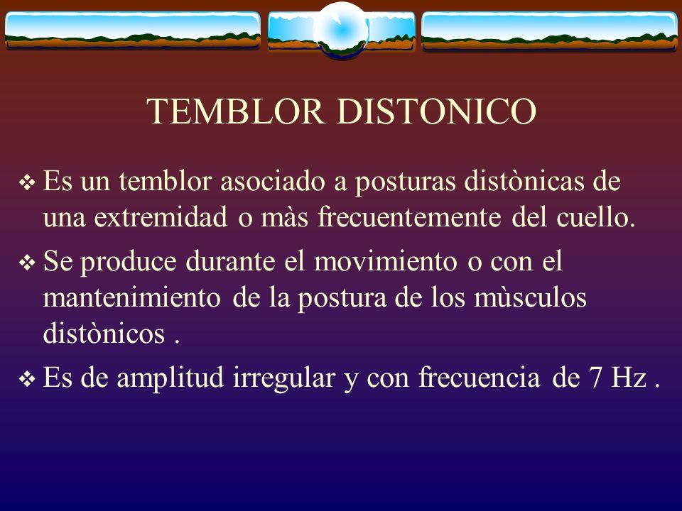 TEMBLOR DISTONICO Es un temblor asociado a posturas distònicas de una extremidad o màs frecuentemente del cuello. Se produce durante el movimiento o c