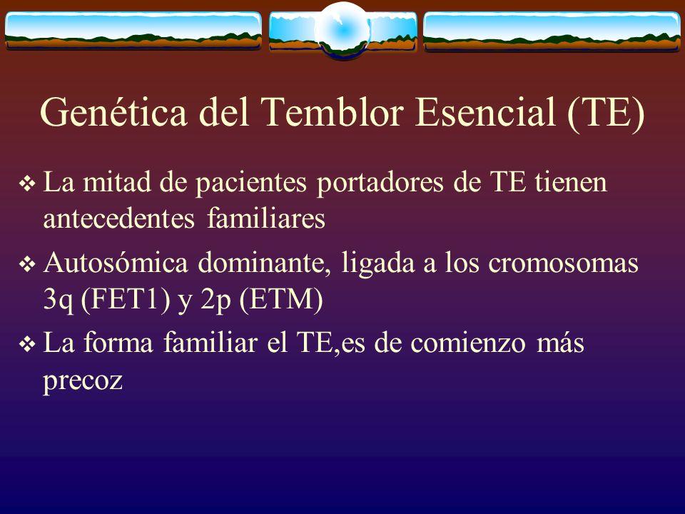 Genética del Temblor Esencial (TE) La mitad de pacientes portadores de TE tienen antecedentes familiares Autosómica dominante, ligada a los cromosomas