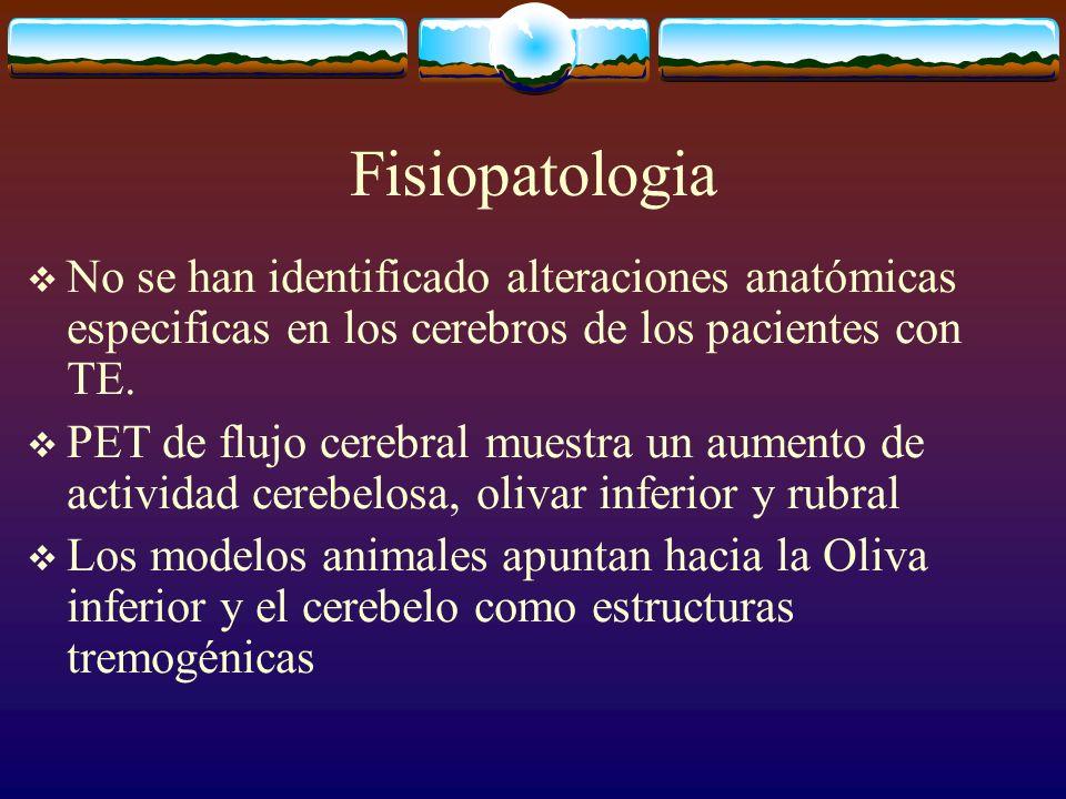 Fisiopatologia No se han identificado alteraciones anatómicas especificas en los cerebros de los pacientes con TE. PET de flujo cerebral muestra un au