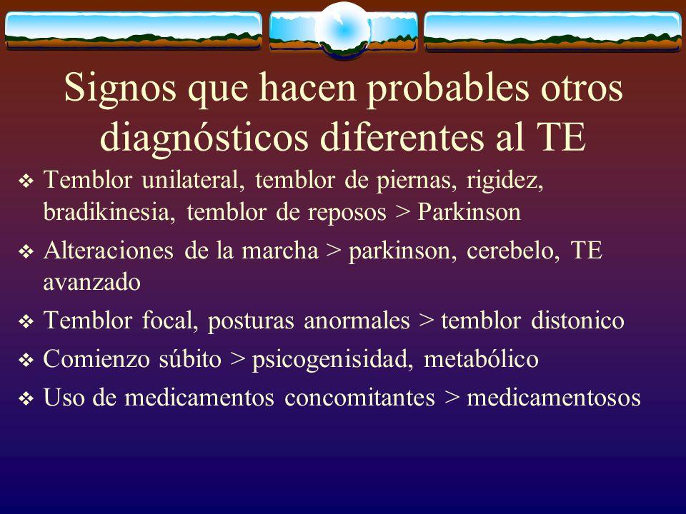Signos que hacen probables otros diagnósticos diferentes al TE Temblor unilateral, temblor de piernas, rigidez, bradikinesia, temblor de reposos > Par