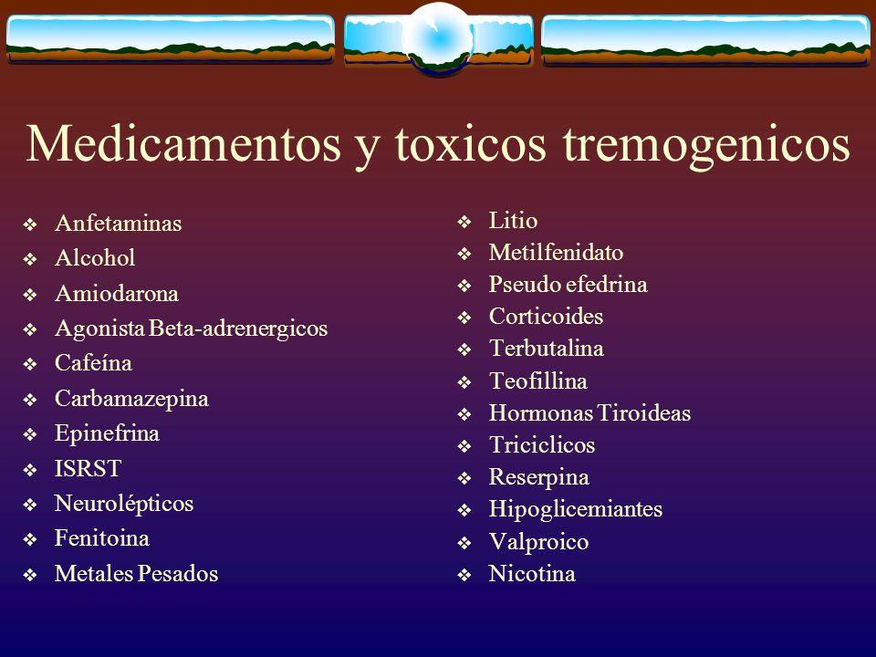 Medicamentos y toxicos tremogenicos Anfetaminas Alcohol Amiodarona Agonista Beta-adrenergicos Cafeína Carbamazepina Epinefrina ISRST Neurolépticos Fen