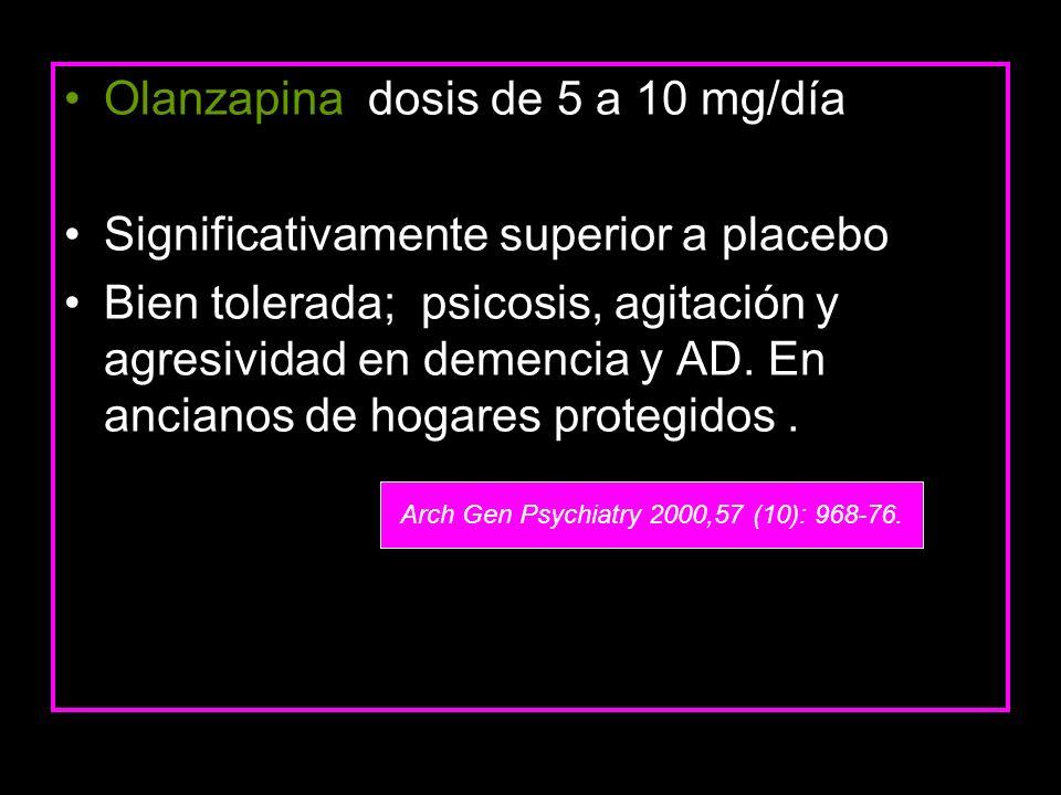 Olanzapina dosis de 5 a 10 mg/día Significativamente superior a placebo Bien tolerada; psicosis, agitación y agresividad en demencia y AD. En ancianos