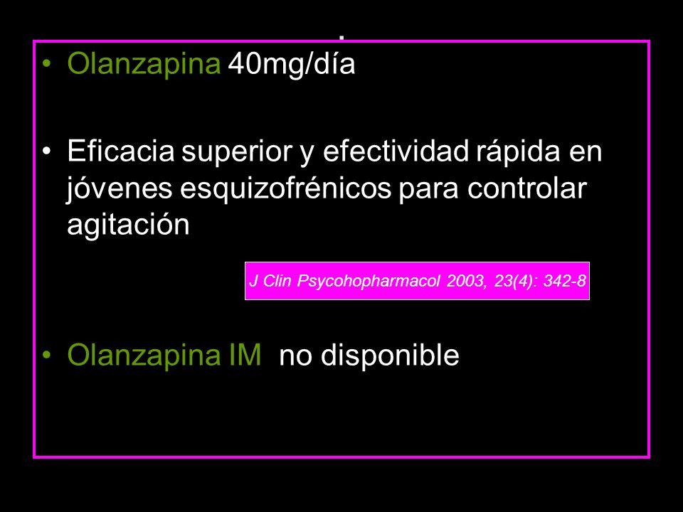 . Olanzapina 40mg/día Eficacia superior y efectividad rápida en jóvenes esquizofrénicos para controlar agitación Olanzapina IM no disponible J Clin Ps
