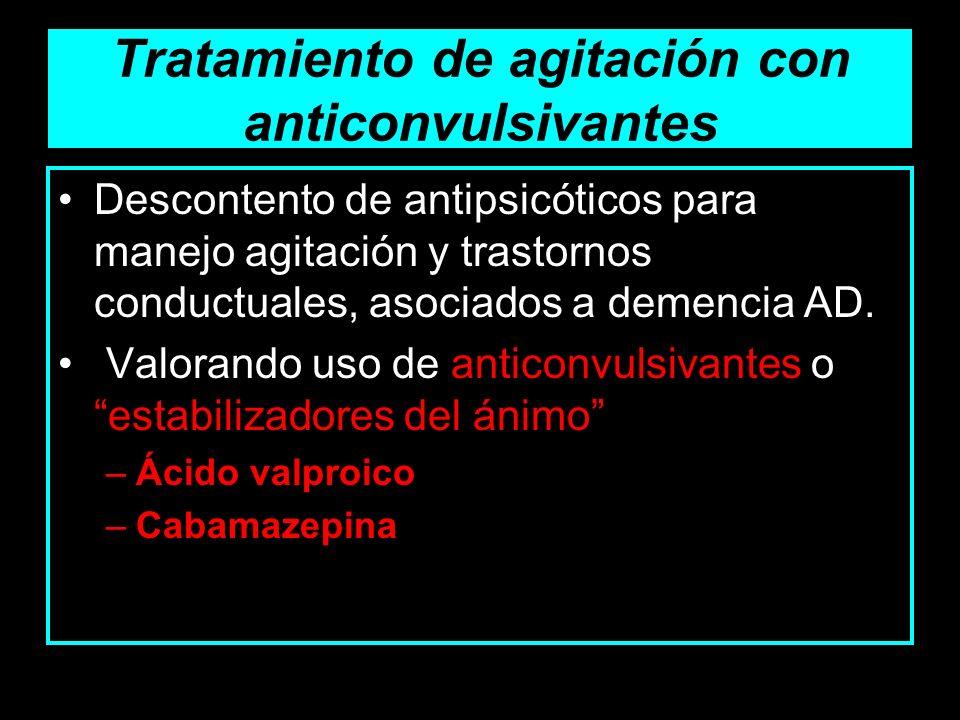 Tratamiento de agitación con anticonvulsivantes Descontento de antipsicóticos para manejo agitación y trastornos conductuales, asociados a demencia AD