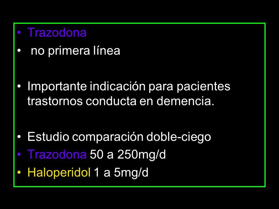 Trazodona no primera línea Importante indicación para pacientes trastornos conducta en demencia. Estudio comparación doble-ciego Trazodona 50 a 250mg/