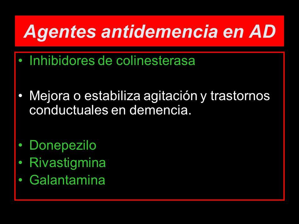 Agentes antidemencia en AD Inhibidores de colinesterasa Mejora o estabiliza agitación y trastornos conductuales en demencia. Donepezilo Rivastigmina G