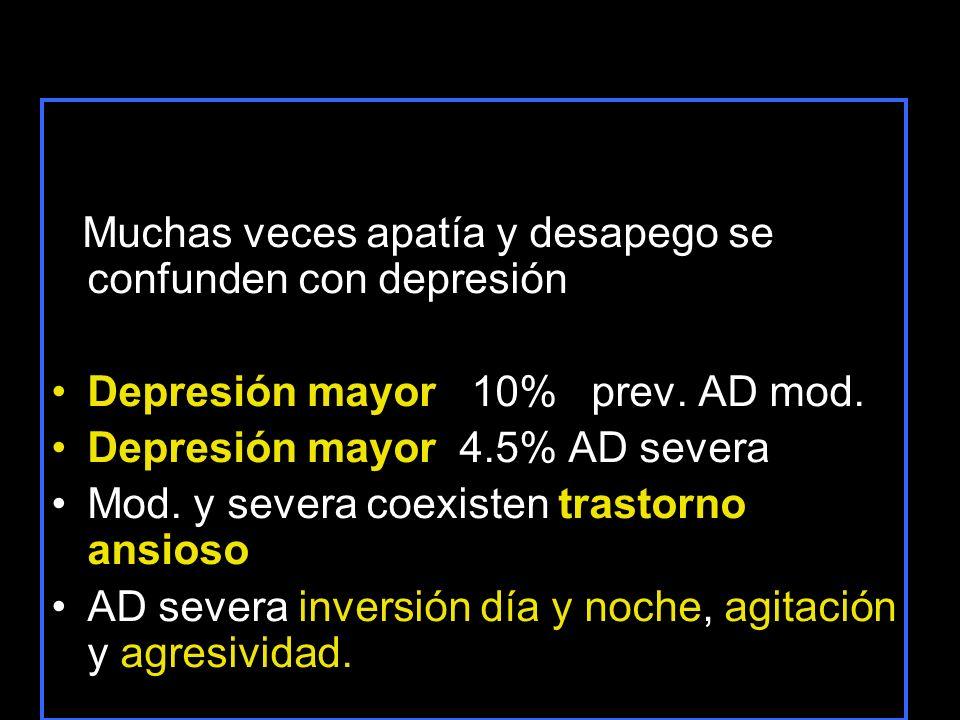 Muchas veces apatía y desapego se confunden con depresión Depresión mayor 10% prev. AD mod. Depresión mayor 4.5% AD severa Mod. y severa coexisten tra