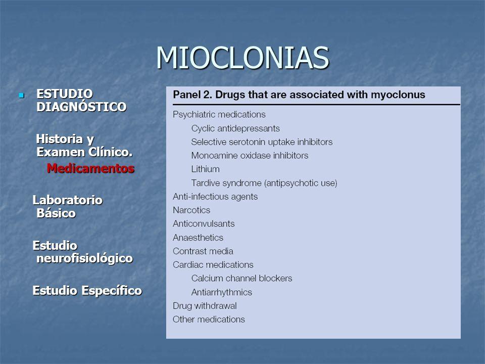 MIOCLONIAS ESTUDIO DIAGNÓSTICO ESTUDIO DIAGNÓSTICO Historia y Examen Clínico. Historia y Examen Clínico. Medicamentos Medicamentos Laboratorio Básico
