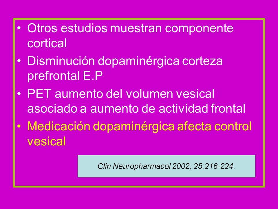 Otros estudios muestran componente cortical Disminución dopaminérgica corteza prefrontal E.P PET aumento del volumen vesical asociado a aumento de act