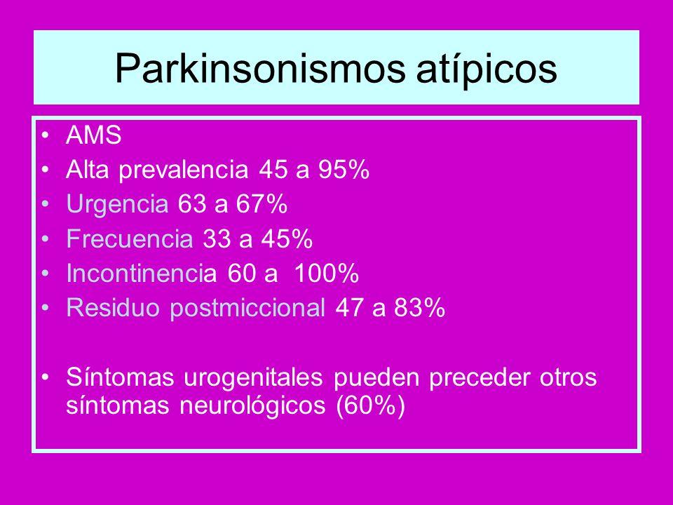 Parkinsonismos atípicos AMS Alta prevalencia 45 a 95% Urgencia 63 a 67% Frecuencia 33 a 45% Incontinencia 60 a 100% Residuo postmiccional 47 a 83% Sín