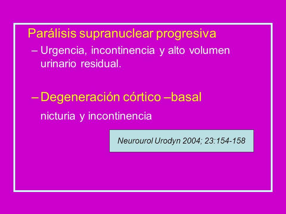 Parálisis supranuclear progresiva –Urgencia, incontinencia y alto volumen urinario residual. –Degeneración córtico –basal nicturia y incontinencia Neu