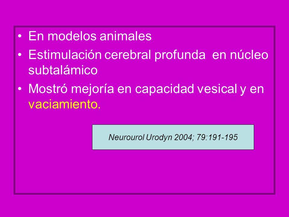En modelos animales Estimulación cerebral profunda en núcleo subtalámico Mostró mejoría en capacidad vesical y en vaciamiento. Neurourol Urodyn 2004;