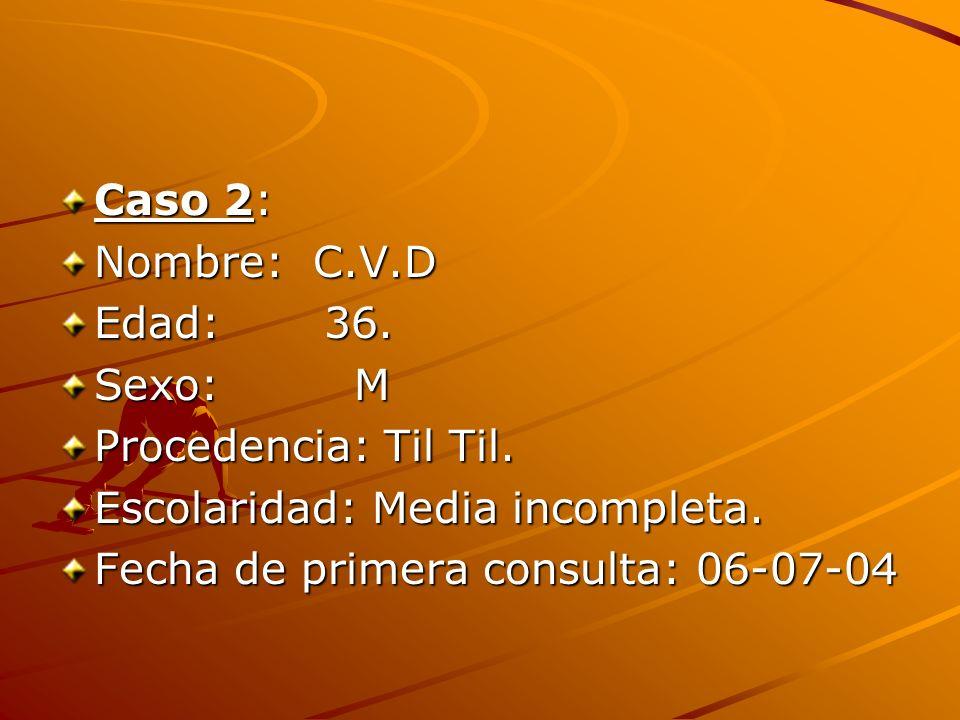 Caso 2: Nombre: C.V.D Edad: 36. Sexo: M Procedencia: Til Til. Escolaridad: Media incompleta. Fecha de primera consulta: 06-07-04