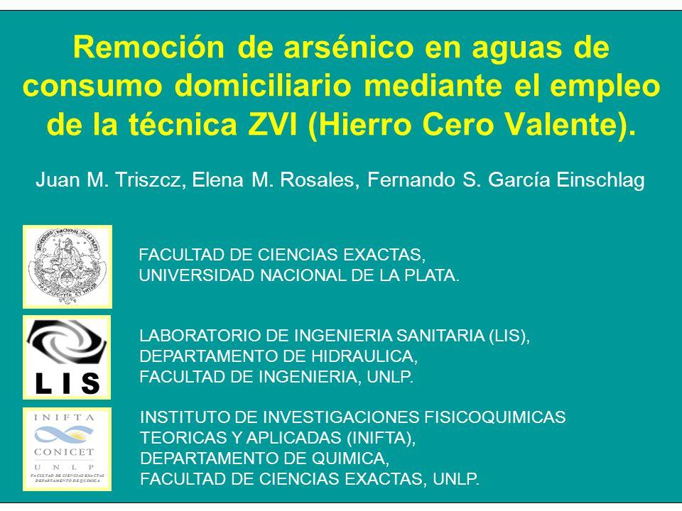 Remoción de arsénico en aguas de consumo domiciliario mediante el empleo de la técnica ZVI (Hierro Cero Valente). LABORATORIO DE INGENIERIA SANITARIA