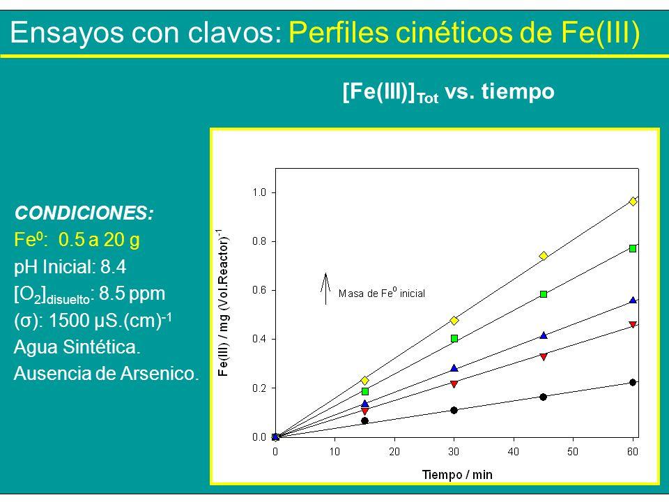 Ensayos con clavos: Perfiles cinéticos de Fe(III) CONDICIONES: Fe 0 : 0.5 a 20 g pH Inicial: 8.4 [O 2 ] disuelto : 8.5 ppm (σ): 1500 µS.(cm) -1 Agua S