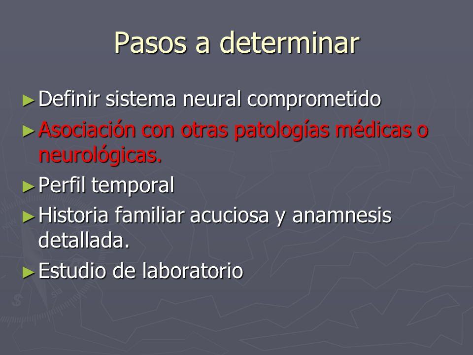 Pasos a determinar Definir sistema neural comprometido Definir sistema neural comprometido Asociación con otras patologías médicas o neurológicas. Aso