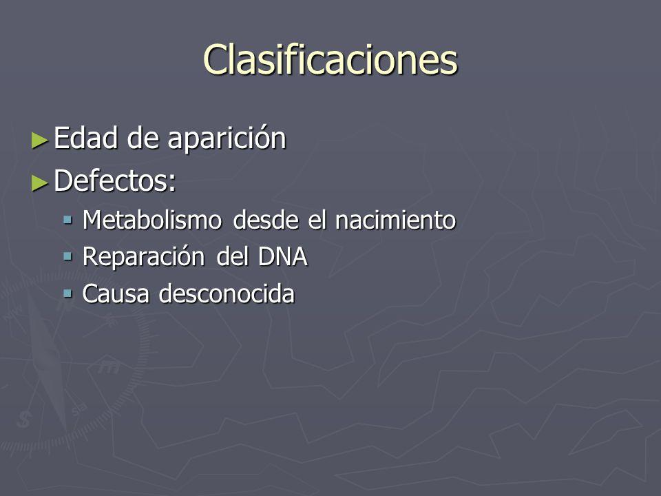 Clasificaciones Edad de aparición Edad de aparición Defectos: Defectos: Metabolismo desde el nacimiento Metabolismo desde el nacimiento Reparación del