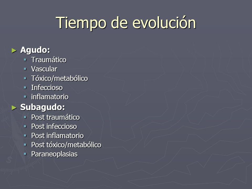 Tiempo de evolución Agudo: Agudo: Traumático Traumático Vascular Vascular Tóxico/metabólico Tóxico/metabólico Infeccioso Infeccioso inflamatorio infla
