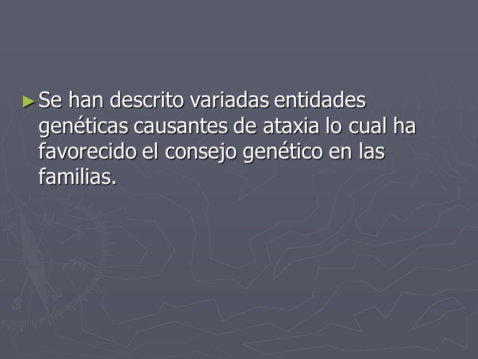 Se han descrito variadas entidades genéticas causantes de ataxia lo cual ha favorecido el consejo genético en las familias. Se han descrito variadas e