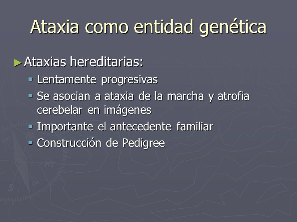 Ataxia como entidad genética Ataxias hereditarias: Ataxias hereditarias: Lentamente progresivas Lentamente progresivas Se asocian a ataxia de la march