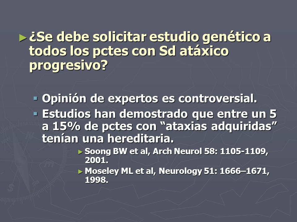 ¿Se debe solicitar estudio genético a todos los pctes con Sd atáxico progresivo? ¿Se debe solicitar estudio genético a todos los pctes con Sd atáxico
