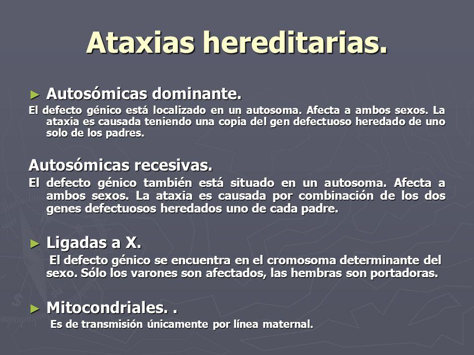 Ataxias hereditarias. Autosómicas dominante. Autosómicas dominante. El defecto génico está localizado en un autosoma. Afecta a ambos sexos. La ataxia