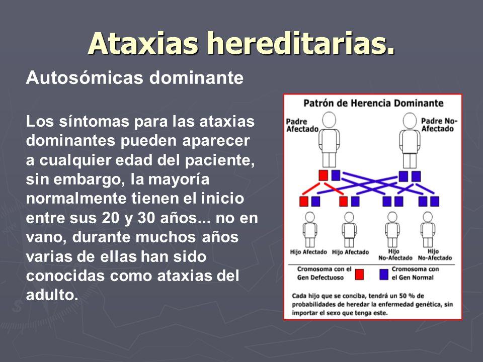 Ataxias hereditarias. Autosómicas dominante Los síntomas para las ataxias dominantes pueden aparecer a cualquier edad del paciente, sin embargo, la ma