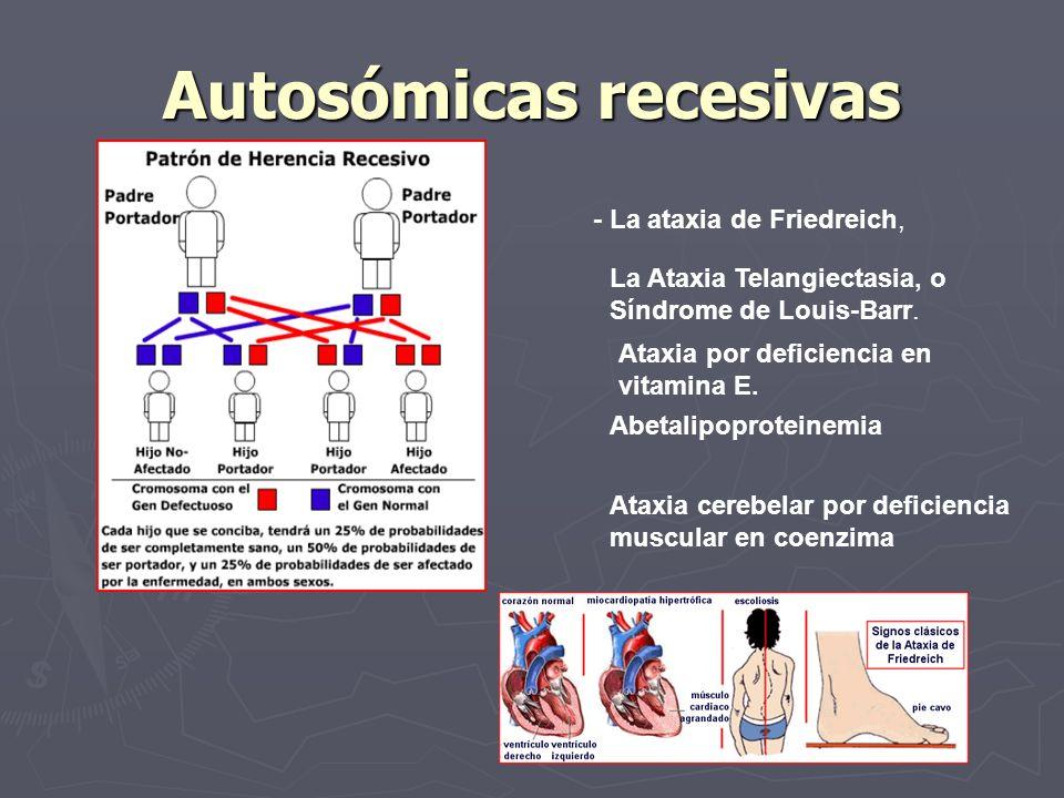 Autosómicas recesivas - La ataxia de Friedreich, La Ataxia Telangiectasia, o Síndrome de Louis Barr. Ataxia por deficiencia en vitamina E. Abetalipopr