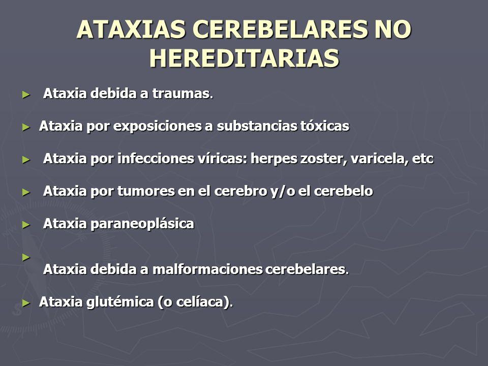 ATAXIAS CEREBELARES NO HEREDITARIAS Ataxia debida a traumas. Ataxia debida a traumas. Ataxia por exposiciones a substancias tóxicas Ataxia por exposic