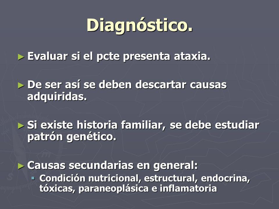 Pasos a determinar Definir sistema neural comprometido Definir sistema neural comprometido Asociación con otras patologías médicas o neurológicas.