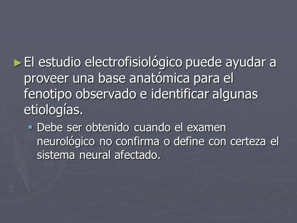 El estudio electrofisiológico puede ayudar a proveer una base anatómica para el fenotipo observado e identificar algunas etiologías. El estudio electr
